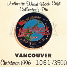 """Hard Rock Cafe VANCOUVER 1996 Christmas PIN on CARD """"PEACE ON EARTH"""" HRC #24446"""