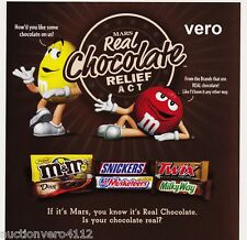 2009 magazine ad M&M's REAL CHOCOLATE RELIEF ACT #2 mms M&M print red yellow