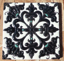 "8~Talavera Mexican 4"" tile Hi Relief Moroccan Jewel Black Turquoise off white"