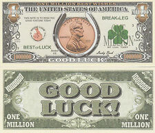 Good Luck Penny Million Dollar Bill Collectible Novelty Note