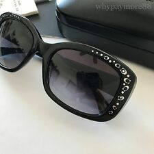 Coach HC8161 Black Plastic Rectangular Sunglasses Silver Signature C Detials NEW