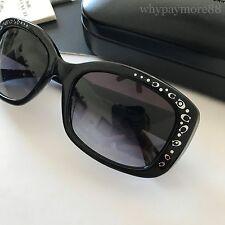 Coach HC8161 Black Plastic Rectangular Sunglasses Silver Signature C Detials NEW