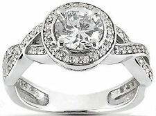 1.39 ct total Solitare Round DIAMOND Halo Engagement Wedding 14k White Gold Ring