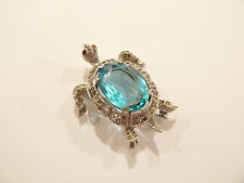 Gorgeous Vtg 1940's Trifari Sterling & Rhinestone Figural Turtle Pin / Brooch