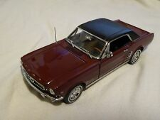 1966 Ford Mustang Danbury Mint 1:24 Scale Diecast Replica Car Maroon Hardtop 66
