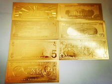 7 Pcs/Lot 24K Gold Commemorative Notes American Coin Bill Collection Decorations