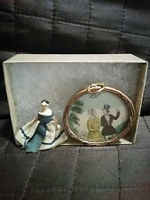 Antique 1800s Grodnertal Peg Doll and Georgian Dollhouse Picture Jane Austen