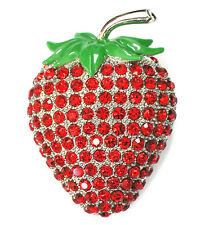 Big Strawberry Pin Brooch Gorgeous Red Rhinestone Crystal