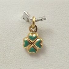 18K Yellow Gold Enamel 3d Teenie Tiny Lucky 4 Leaf Clover Charm Pendant 0.4gr