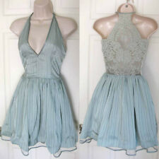 BEBE AQUA GRAY LACE BACK METALLIC STRIPE DRESS NEW NWT $149 MEDIUM M LARGE L 10