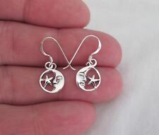 Sterling Silver moon and star small dangle earrings