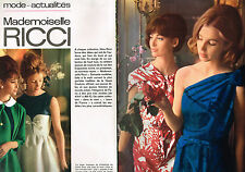 PUBLICITE ADVERTISING 014   1963   MADEMOISELLE RICCI  haute couture ( 2 pages)