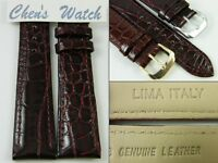 HQ 12 14 MM BROWN REDDISH GLOSS ITALY LEATHER WATCH BAND UNIQUE CROC GRAIN STRAP