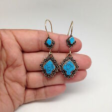 Handmade Afghan Turkmen Tribal Kuchi Blue Turquoise Inlay Marquise Earrings E16