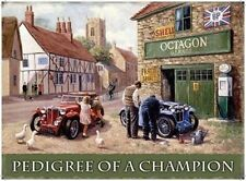 Vintage MG Sports Car Rural Garage Motor Mechanic Champion Medium Metal/Tin Sign