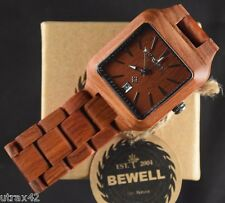 Mens Wooden Watch Square Face Red Sandalwood Casual Wristwatch by Bewell - NEW