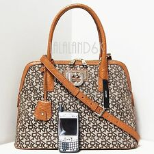 DKNY TOWN & COUNTRY CARAMEL FRENCH GRAIN DOME SATCHEL SHOULDER CROSSBODY BAG NWT