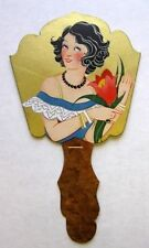 Vintage Bridge Tally Hand Fan w/ Deco Woman Flower