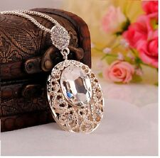 Fashion Ladies Crystal Rhinestone Pendant Gold Chain Style Necklace Jewelry