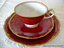VG GERMAN REICHENBACH RETIRED PORCELAIN ROYAL RED TEA CUP SAUCER PLATE TRIO #2