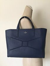 Kate Spade NY French Navy Leather Bridge Place Small Francisca Bow Tote Shopper