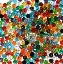 CRB378 Assorted Mixed Color & Finish 4mm Faceted Round Crystal Glass Beads 50pc