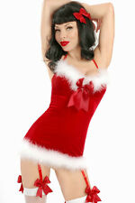 Sexy! 2pc Mrs Claus Red Hot Velvet Feather Christmas Chemise w/ G-String 7199