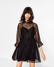 ZARA Black DRESS WITH LACE AND FRILL Gathered detail on the neck, cuffs,wais NWT