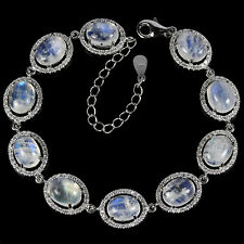 Sterling Silver 925 Genuine Natural Moonstone Bracelet 6.75 to 8.75 Inches