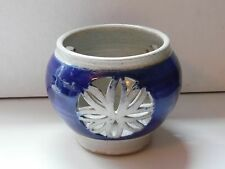Blue Glazed Pottery Patio Candle Signed 5 Inches Tall 5 Inch Diameter