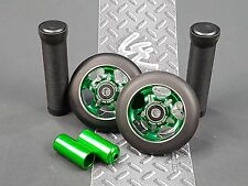 Green Pro Star Black Metal Core Scooter Wheels x2 + Grips + Pegs + Grip Tape