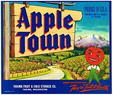 APPLE TOWN CRATE LABEL YAKIMA WASHINGTON VINTAGE SCARCE ANTHROPOMORPHIC GLOSSY