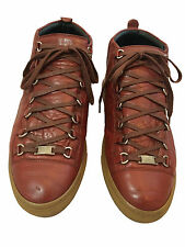 Balenciaga Arena Brick Red Leather High Top Sneakers Gum Sole EU 43 Authent