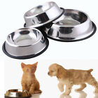 1x 2x Lot Pcs Stainless Steel Pet Dog Cat Feeding Food Non Slip Bowl Metal Dish