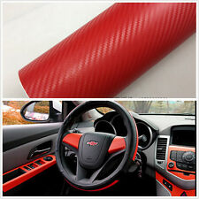 3D SUV Car Accessories Interior Panel Red Carbon Fiber Vinyl Wrap Sticker