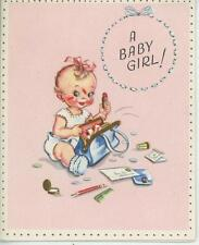 VINTAGE BABY GIRL MOMS BLUE PURSE RED LIPSTICK PLAYING GREETING CARD ART PRINT