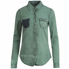 Ladies/Womens Long Sleeve Semi Fitted Denim Shirt 8-16 Casual In Two Colours