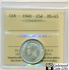 1940 Canada 25 Cent Coin ICCS Graded MS-65
