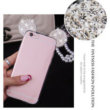 White Bling Diamond Mickey Mouse Clear Soft Case Cover for iPhone 7 Plus S002