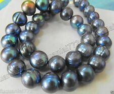 "HUGE NATURAL SOUTH SEA 17"" 10MM GENUINE BLACK BLUE BAROQUE PEARL NECKLACE"