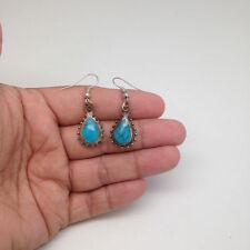 Handmade Afghan Turkmen Tribal Kuchi Blue Turquoise Inlay Teardrop Earrings Gold