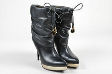 Gucci Black Leather Gold Tone Platfrom Pointed Toe Ruched Boots SZ 7.5