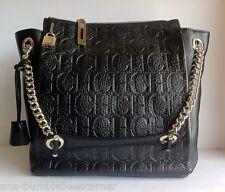 CAROLINA HERRERA Calfskin Leather Embossed CH Monogram Shoulder Bag HandBag NWT