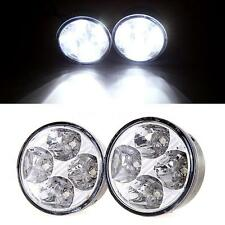 2pcs White 4 LED Round Daytime Running Light DRL Car Fog Day Driving Lamp X1Q4
