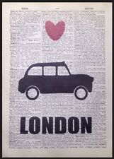 London Black Cab Taxi Print Vintage Dictionary Page Wall Art Picture British