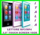 """LETTORE MP3 MP4 16GB 2,0"""" TOUCH SCREEN LCD IN METALLO+RADIO FM +FOTO +VIDEO"""