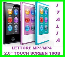 "LETTORE MP3 MP4 16GB 2,0"" TOUCH SCREEN LCD  IN METALLO+RADIO FM +FOTO +VIDEO"
