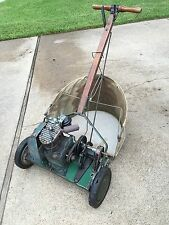RARE ANTIQUE CLINTON REEL LAWN MOWER WOODEN HANDLE WITH ROPE AND BAG