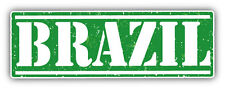 "Brazil Grunge Travel Stamp Car Bumper Sticker Decal 6"" x 3"""