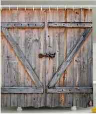 "Country Shower Curtain - Rustic Barn Door Antique Bathroom Decor Wooden 69""X70"""